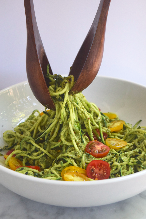 Zucchini Noodles with Pesto + Roasted Tomatoes